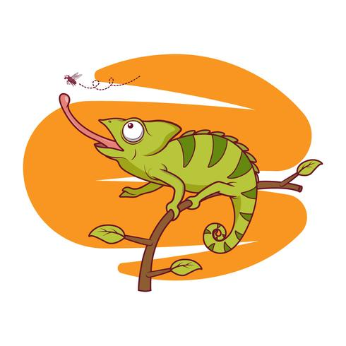Free Vector Chameleon catching flies illustration