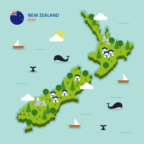 New Zealand Map Illustration