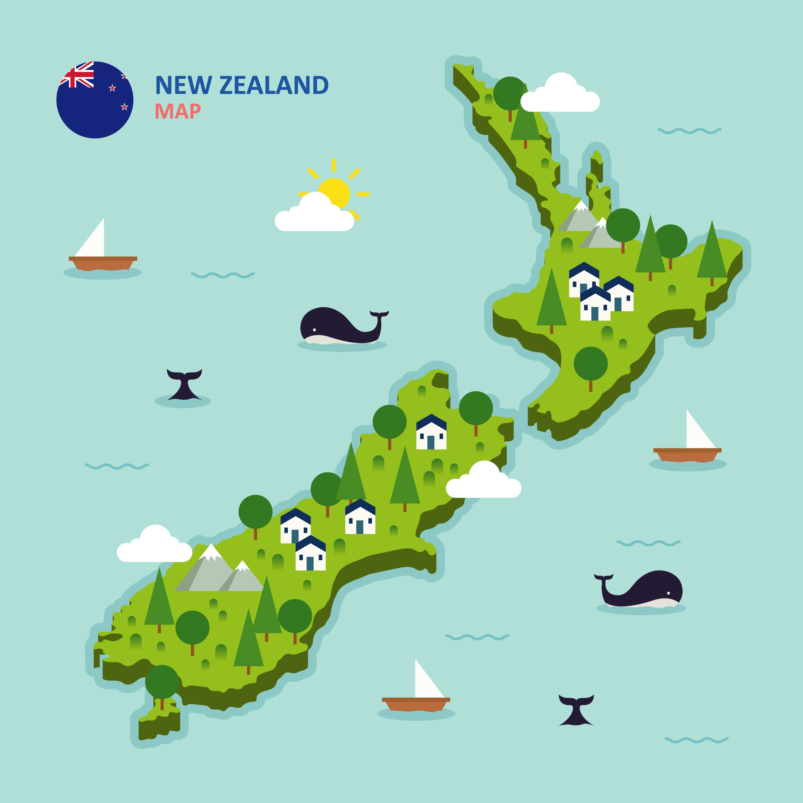 Line Drawing New Zealand Map : New zealand map illustration download free vector art