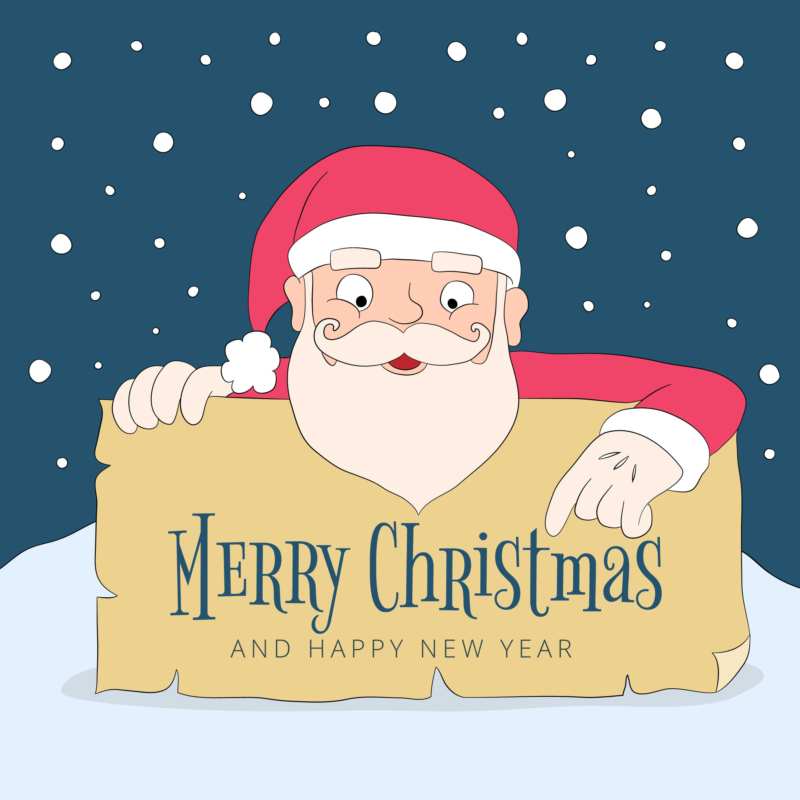 b0f3e50227d22 Cartoon Santa Holding Sign With Christmas Message - Download Free Vector  Art