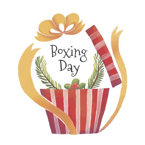 Cute Gift Box With Leaves To Boxing Day