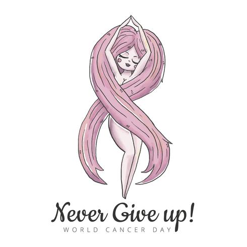 Donna carina con forma di nastro di cancro dei capelli