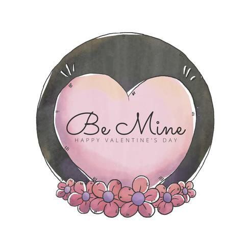 Cuore carino con fiori rosa a San Valentino vettore