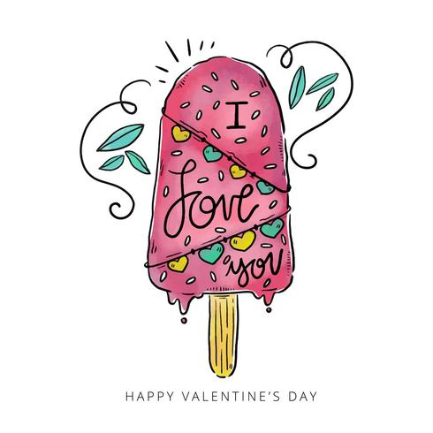 Cute Ice Cream With Love Message vector