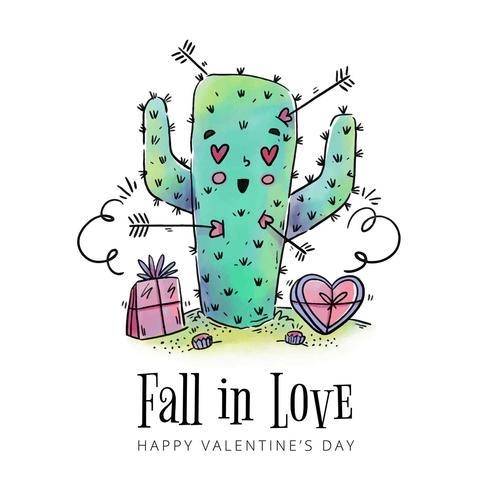 Leuke Cactus in liefde met pijlen rond naar Valentijnsdag