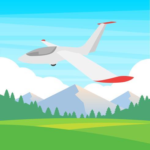 Zweefvliegtuig op een blauwe hemel illustratie