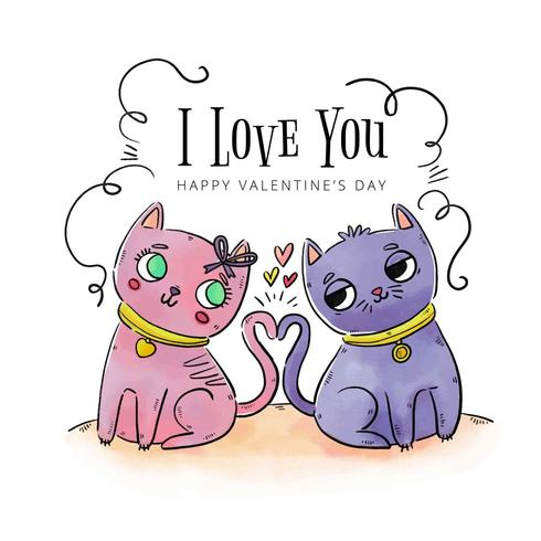 Cute Couple Cat In love To Valentine's Day vector