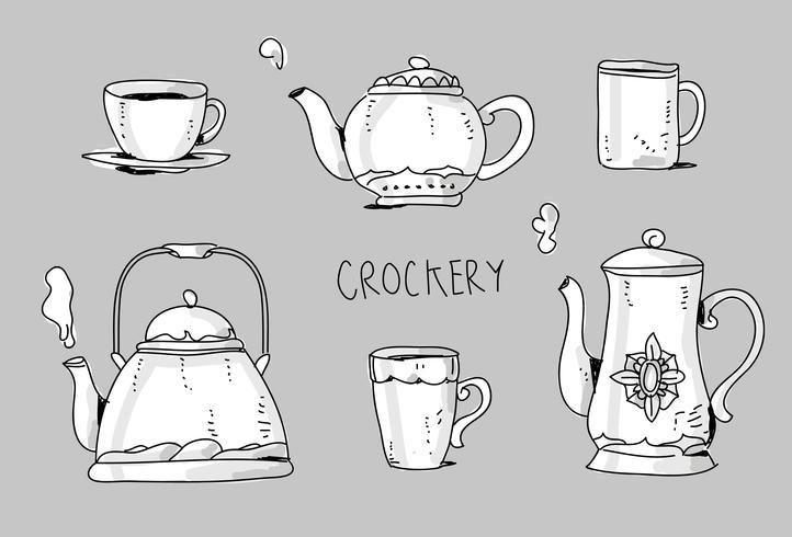 Crockery Set Hand Drawn vector Illustration