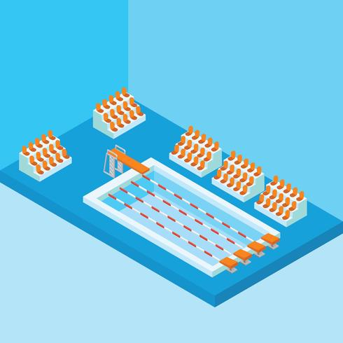 Isometric Swimming Pool vector