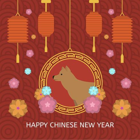 Flat kinesisk nyår vektor illustration