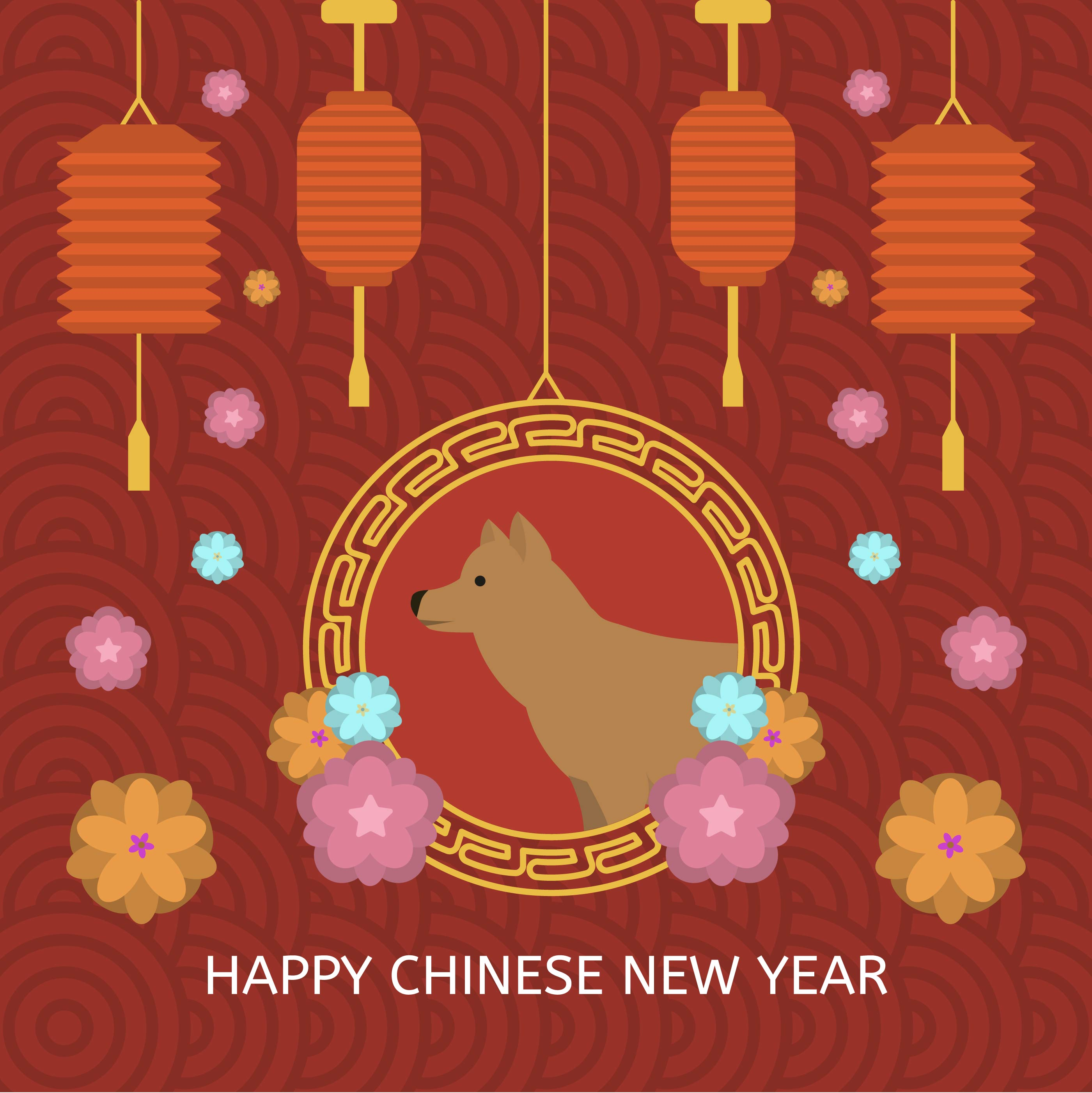 Chinese Calendar Illustration : Flat chinese new year vector illustration download free