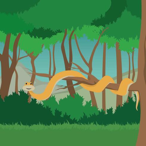 Free Anaconda On Branch Tree Illustration