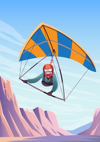 Happy Man Riding Hang Glider