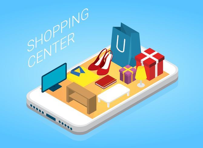 Shopping Center Isometric Free Vector