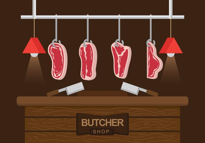 Butchering Veal Vector Illustration