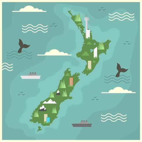 Flacher Neuseeland-Karten-Vektor vektor