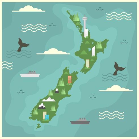 Flat New Zealand Map Vector