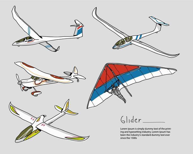 Illustration vectorielle de planeur dessinés à la main