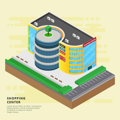 Free Isometric Shopping Center Vector Illustration