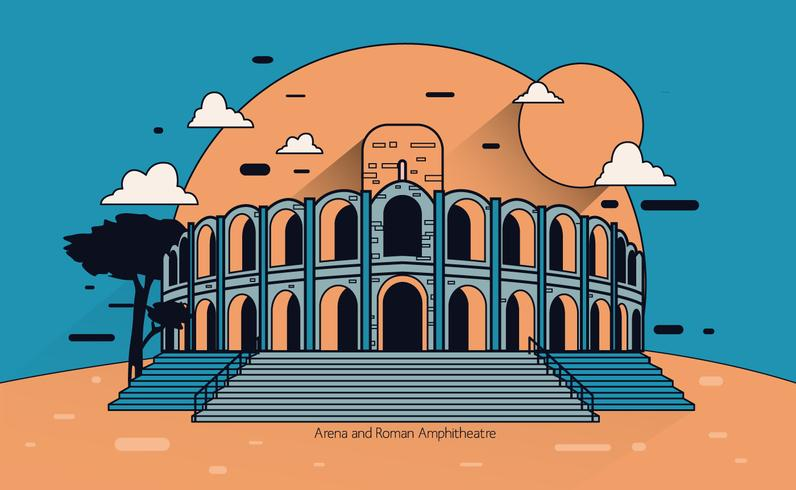 Arena and Roman Amphitheatre Vector