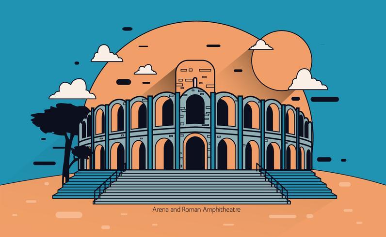 Arena und römischer Amphitheatre Vector