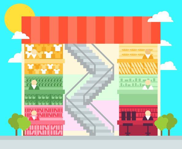 Shopping Center Flat Illustration Vector