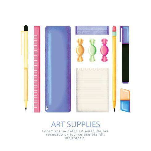 Vector Hand Drawn Art Supplies