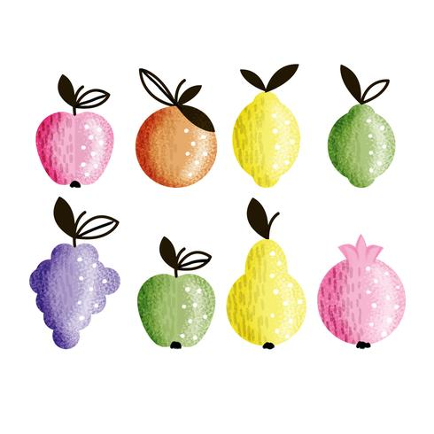 Vector Hand Drawn Colorful Fruits