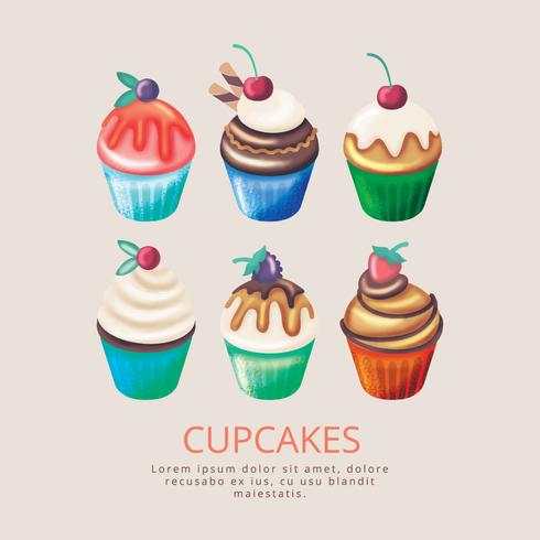 Vector Hand getrokken Cupcakes