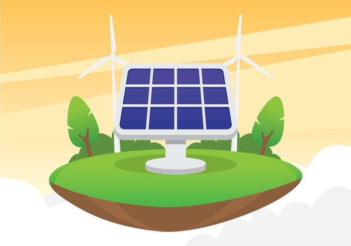 solar cell illustration concept - download free vector art, stock, Powerpoint templates