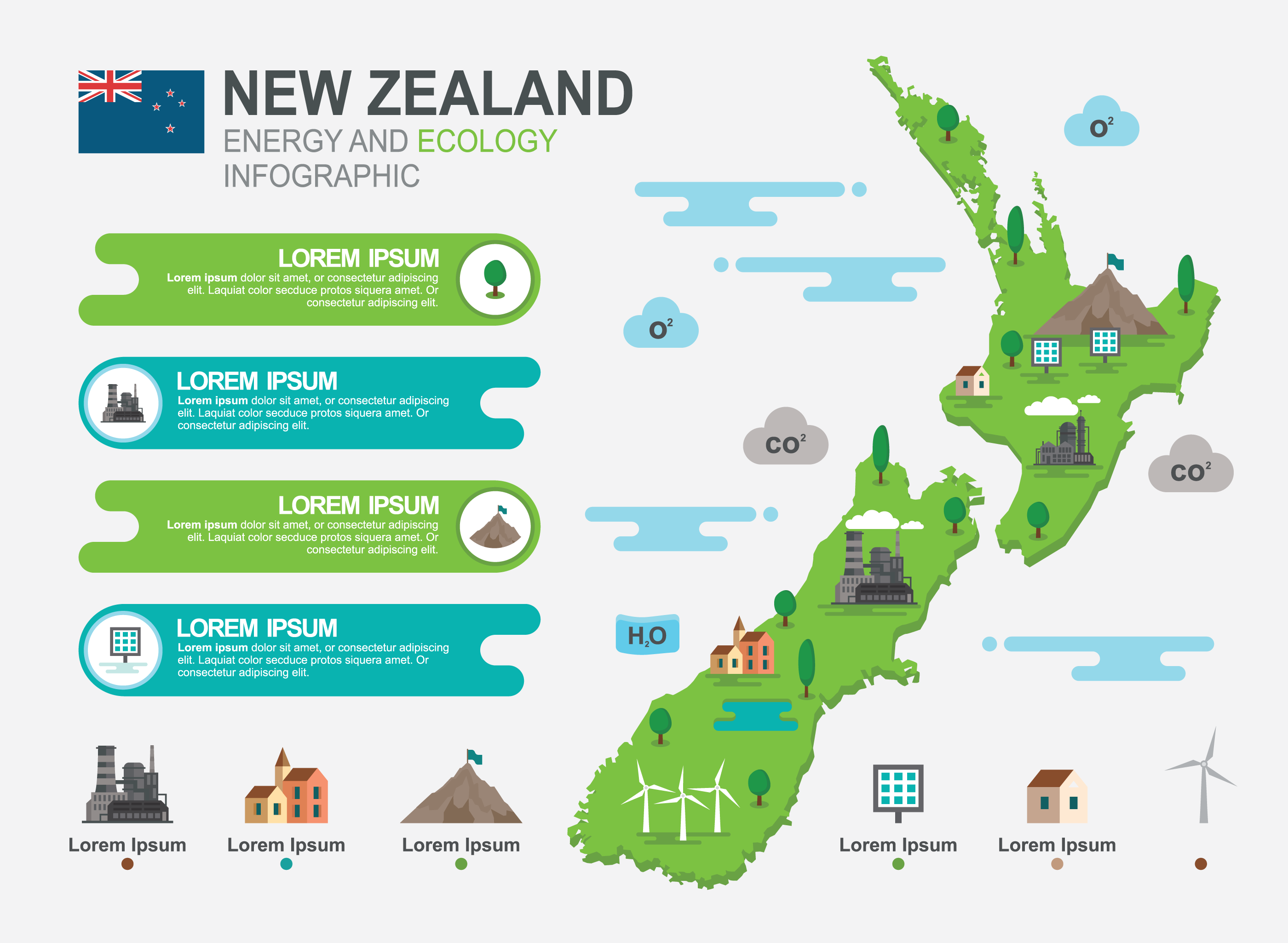 New Zealand Map Infographic Download Free Vector Art