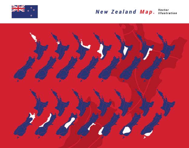 New Zealand Map Vector Illustration