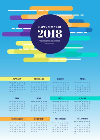 free abstract 2018 calendar vector