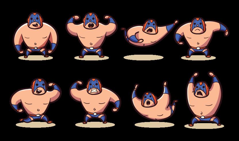 vector de dibujos animados de luchador mexicano