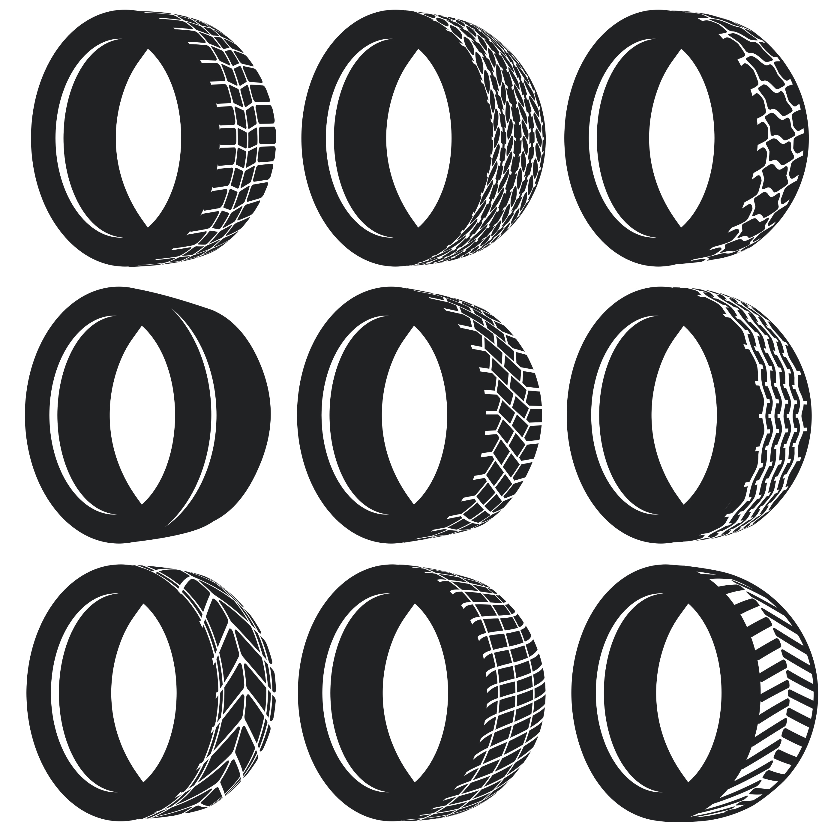 Vector Flat Pneumatic Tire Set - Download Free Vector Art, Stock Graphics & Images