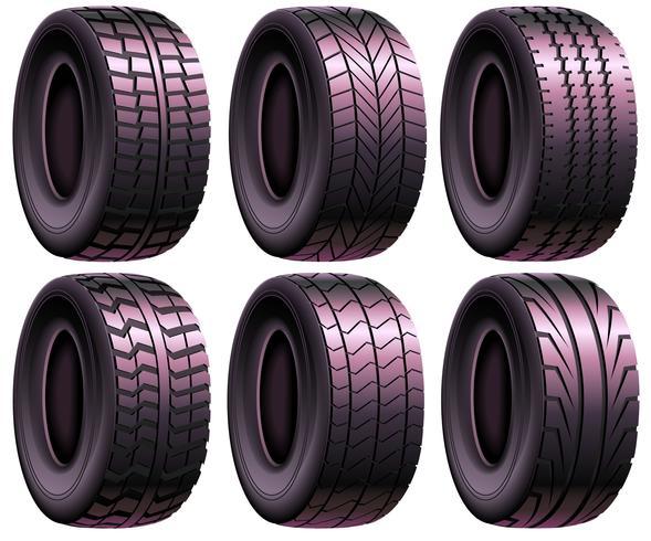 Vector Realistic Pneumatic Tire Set