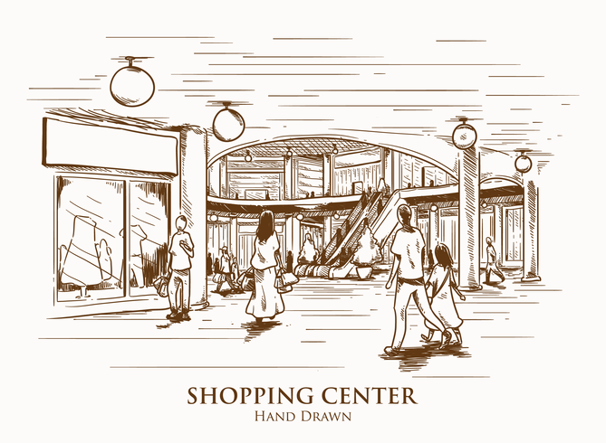 Hand Drawn Shopping Center Illustration
