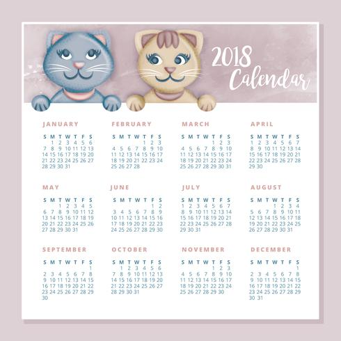 Vector Cute Cats Printable Calendar