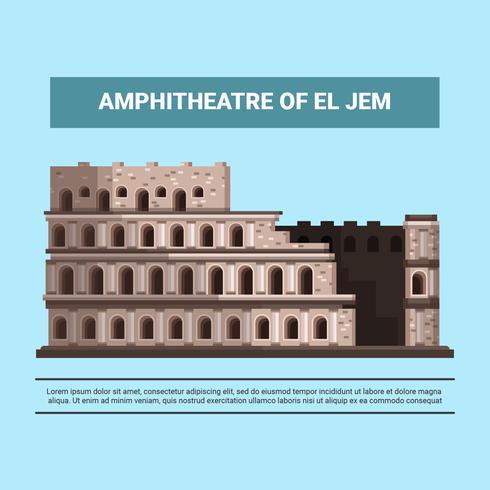 Amphithéâtre d'El Jem Vector Illustration