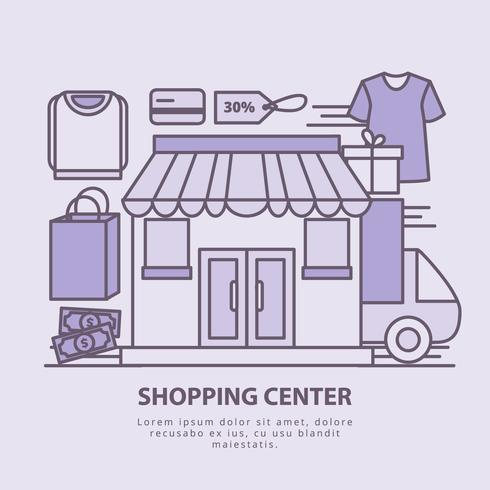 Vector Shopping Center Illustration
