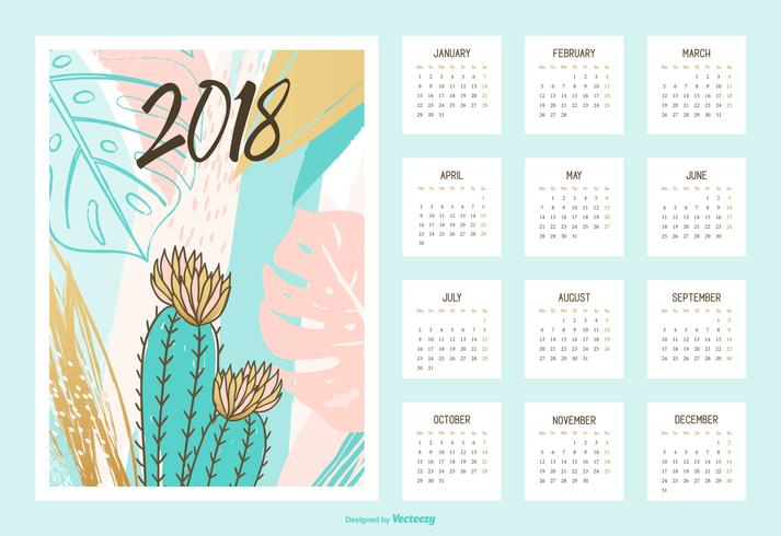 Creative Tropical Printable Calendar 2018 Vector
