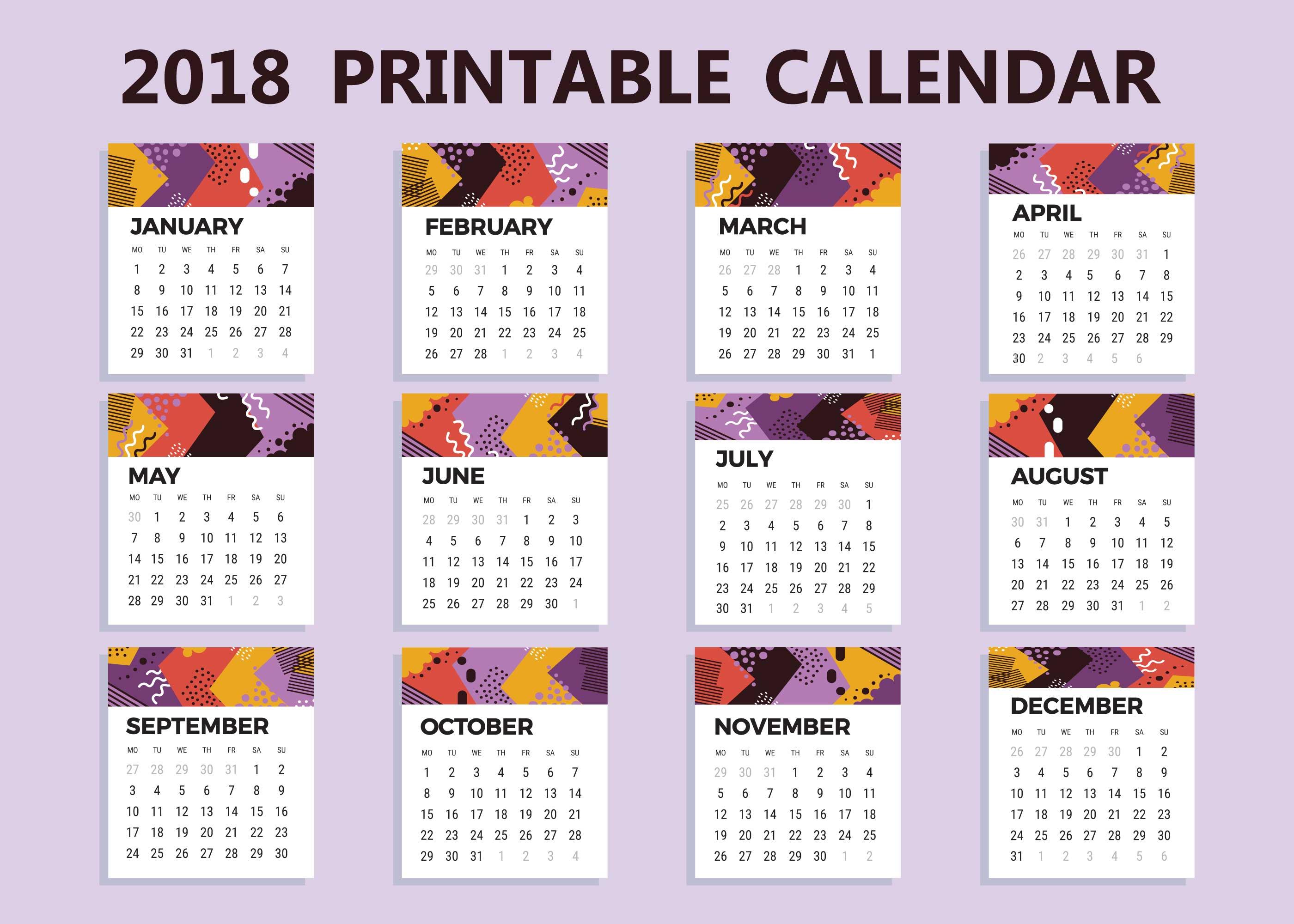 Free 2018 Printable Calendar Vector - Download Free Vector Art, Stock Graphics & Images