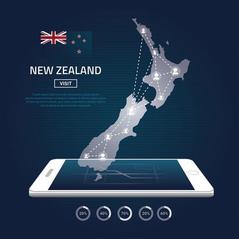 Nieuw-Zeeland kaart digitale telefoonkaart gratis vector