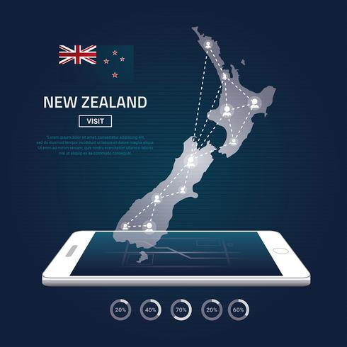 New Zealand Map Digital Phone Map Free Vector