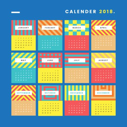 Calendario imprimible moderno vector