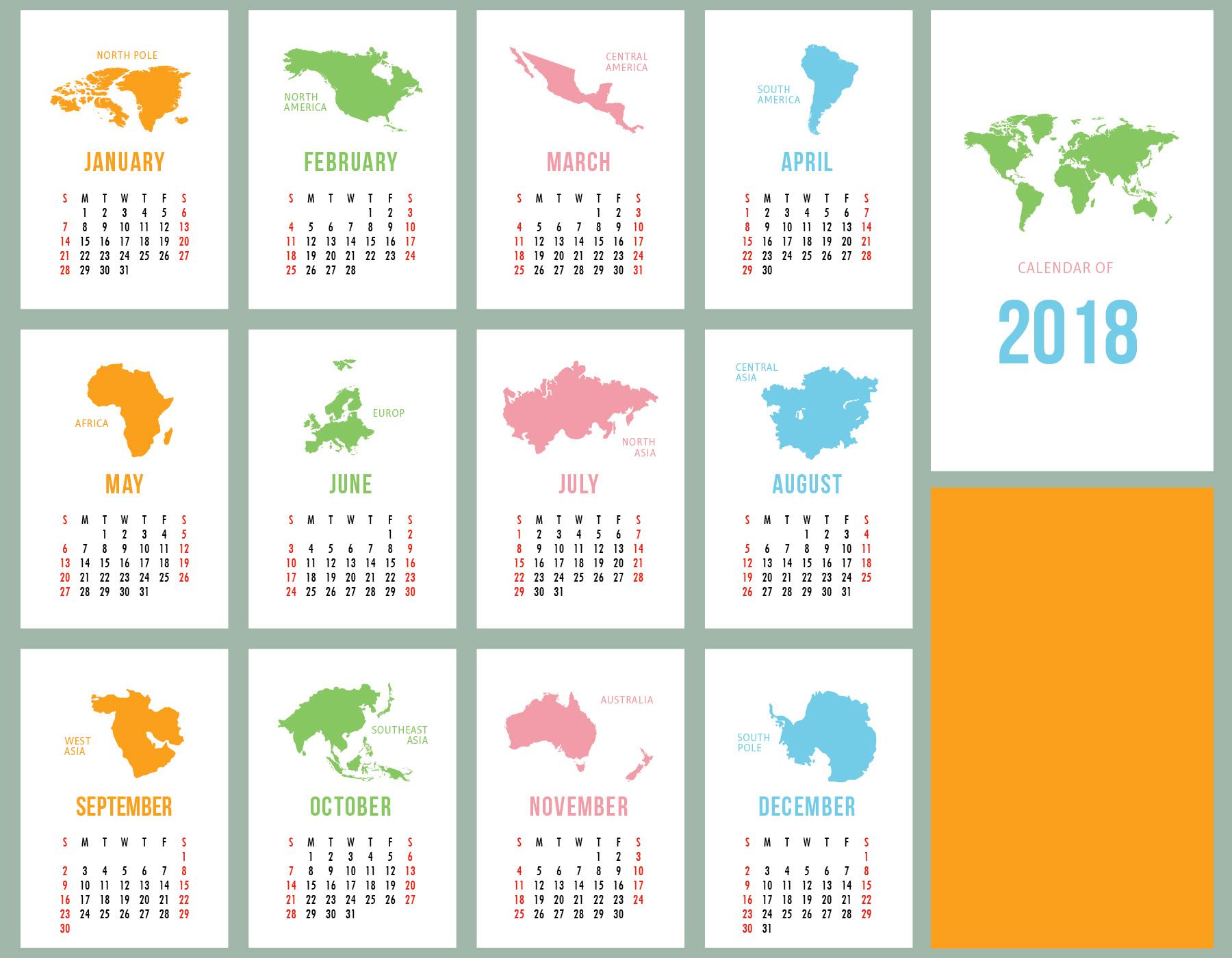 Calendario imprimible - Descargue Gráficos y Vectores Gratis