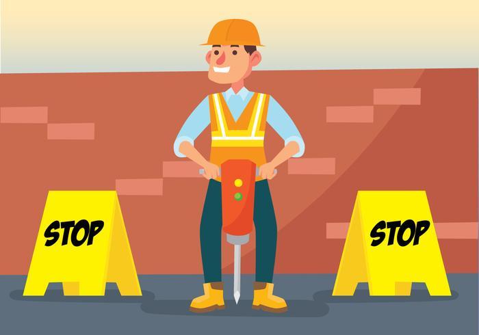 Trabalhador que segura a máquina pneumática