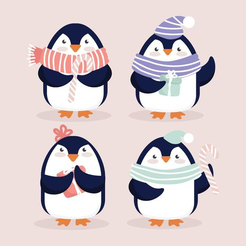 Vector Cute Christmasy Penguins