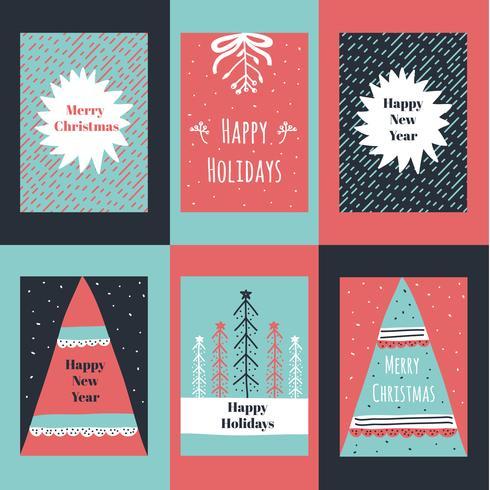 Hand Drawn Christmas Card Vector Set