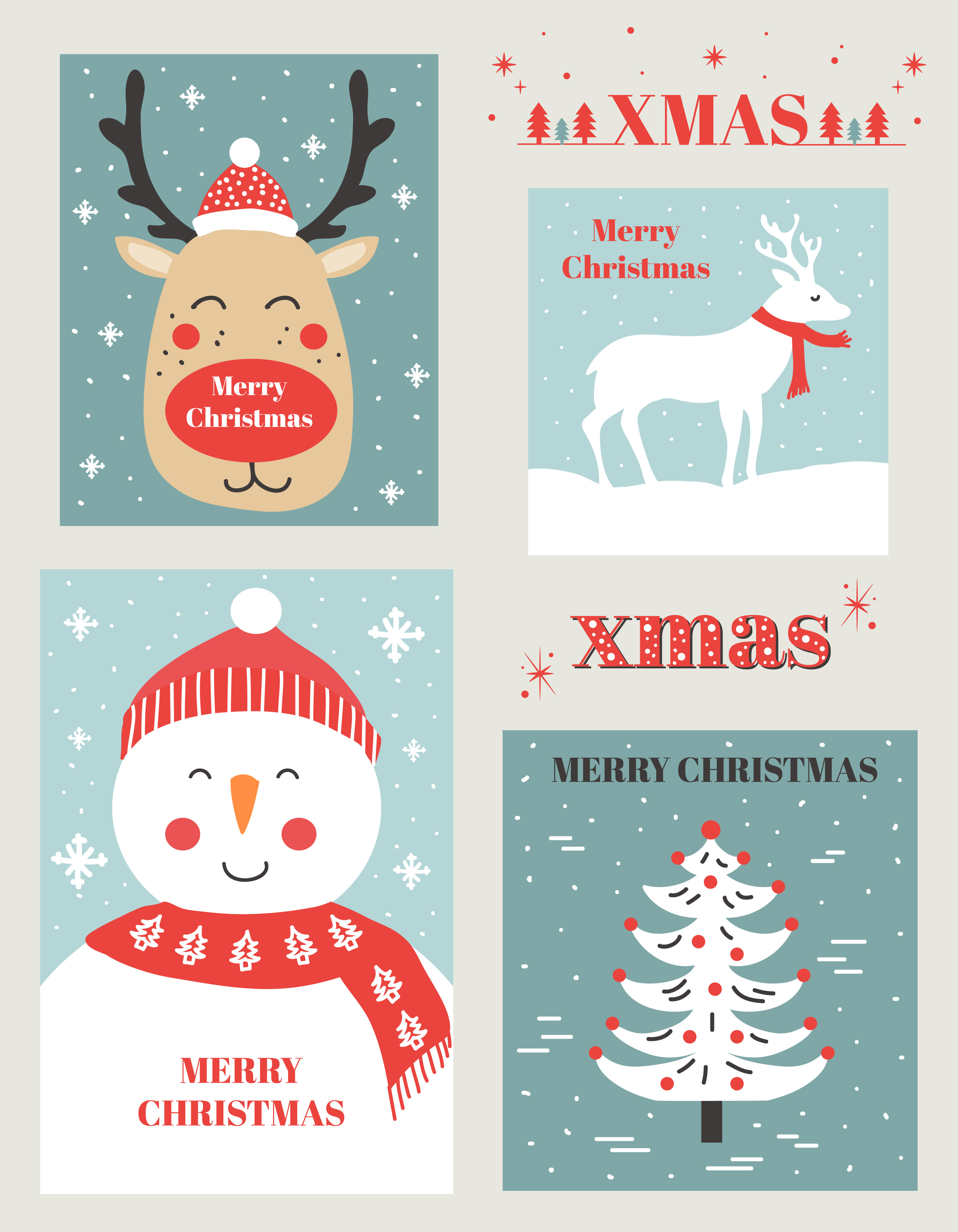 Christmas Cards Vector Set - Download Free Vector Art, Stock ...